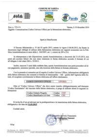 Comunicazione codice univoco ufficio per la fatturazione for Codice univoco per fatturazione elettronica